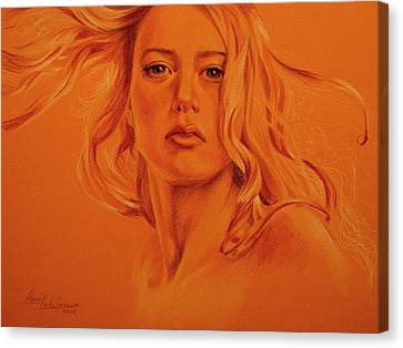 Wind. Study Of Female Head And Hair. Canvas Print