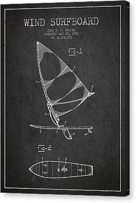 Wind Surfboard Patent Drawing From 1982 - Dark Canvas Print by Aged Pixel