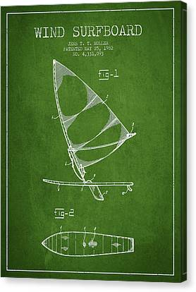 Wind Surfboard Patent Drawing From 1982 - Green Canvas Print by Aged Pixel