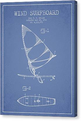 Wind Surfboard Patent Drawing From 1982 - Light Blue Canvas Print by Aged Pixel