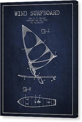 Wind Surfboard Patent Drawing From 1982 - Navy Blue Canvas Print by Aged Pixel