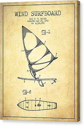 Wind Surfboard Patent Drawing From 1982 - Vintage Canvas Print by Aged Pixel