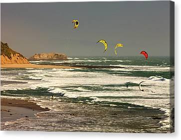 Wind Surfing Santa Cruz Coast Canvas Print by Tom Norring