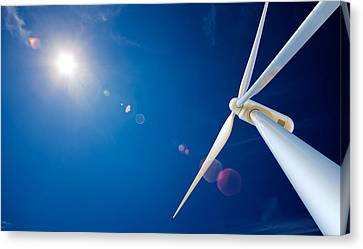Wind Turbines Canvas Print - Wind Turbine And Sun  by Johan Swanepoel