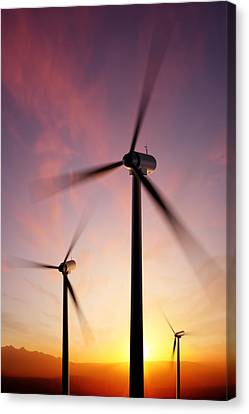 Wind Turbines Canvas Print - Wind Turbine Blades Spinning At Sunset by Johan Swanepoel