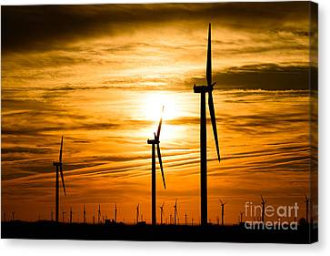 Wind Turbines Canvas Print - Wind Turbine Farm Picture Indiana Sunrise by Paul Velgos