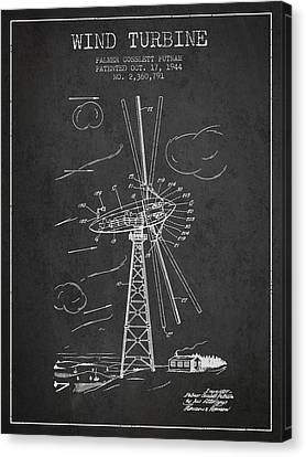 Wind Turbines Canvas Print - Wind Turbine Patent From 1944 - Dark by Aged Pixel