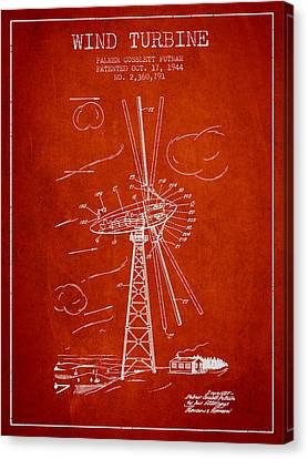 Wind Turbines Canvas Print - Wind Turbine Patent From 1944 - Red by Aged Pixel