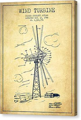 Wind Turbines Canvas Print - Wind Turbine Patent From 1944 - Vintage by Aged Pixel