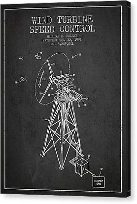 Wind Turbines Canvas Print - Wind Turbine Speed Control Patent From 1994 - Dark by Aged Pixel