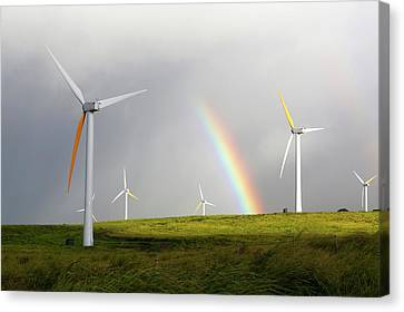 Wind Turbines And Rainbow Canvas Print by Michael Szoenyi