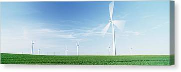 Wind Turbines In A Field, Easington Canvas Print by Panoramic Images