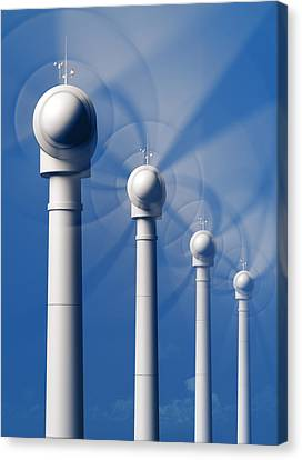 Wind Turbines Canvas Print - Wind Turbines In Motion From The Front by Johan Swanepoel