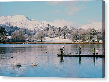 Windermere In Snow Canvas Print by Ashley Cooper