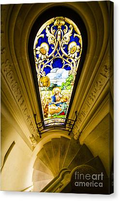 Winding Chapel Stairs And Stained Glass Canvas Print