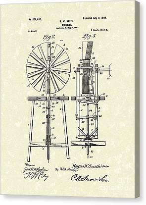 Windmill 1899 Patent Art Canvas Print by Prior Art Design