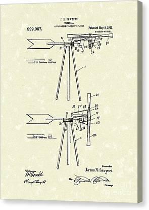 Windmill 1911 Patent Art Canvas Print