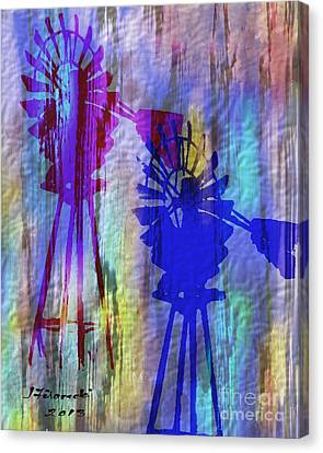 Windmill Abstract Painting Canvas Print by Judy Filarecki