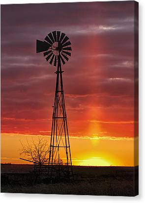Canvas Print featuring the photograph Windmill And Light Pillar by Rob Graham