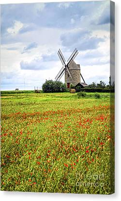 Windmill And Poppy Field In Brittany Canvas Print