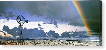 National Preserves Canvas Print - Windmill And Rainbow, Mojave National by Panoramic Images