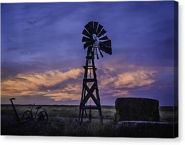 Windmill And Sky Canvas Print by Trish Kusal