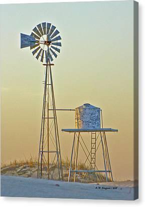 Windmill At Dawn 2011 Canvas Print by Allen Sheffield