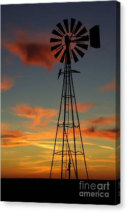 Canvas Print featuring the photograph Windmill At Sunset 1 by Jim McCain
