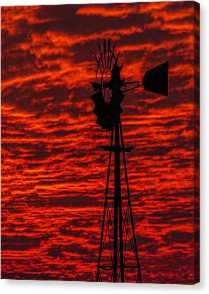 Canvas Print featuring the photograph Windmill At Sunset by Rob Graham