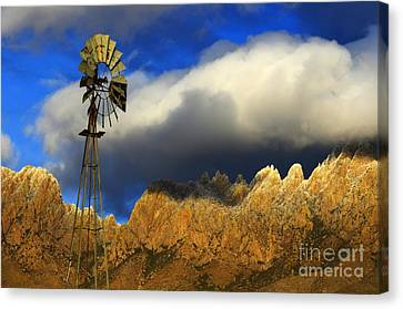 Windmill At The Organ Mountains New Mexico Canvas Print by Bob Christopher