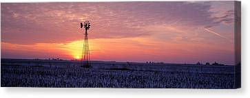 Thaw Canvas Print - Windmill Cornfield Edgar County Il Usa by Panoramic Images