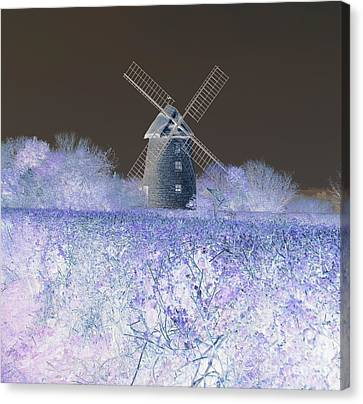 Canvas Print featuring the photograph Windmill In A Purple Haze by Linda Prewer
