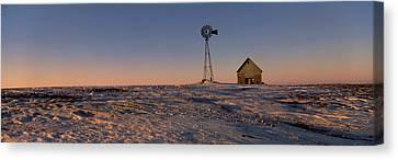 Windmill In A Snow Covered Farmland Canvas Print