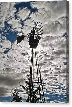 Canvas Print featuring the digital art Windmill In The Clouds by Cathy Anderson
