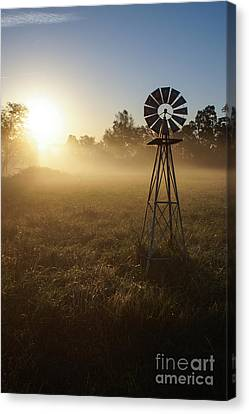 Windmill In The Fog Canvas Print by Jennifer White