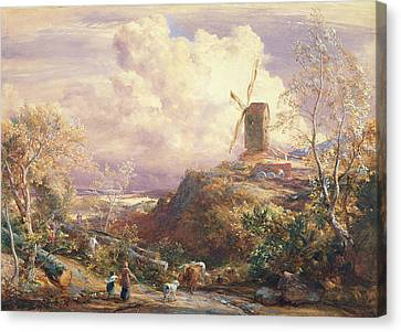 Windmill On A Hill With Cattle Drovers Canvas Print by John Constable