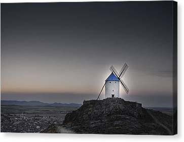 Windmill On The Hill Canvas Print by Juan Cala