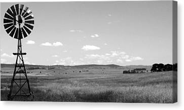 Windmill On The Plains - Black And White Canvas Print by Kaleidoscopik Photography