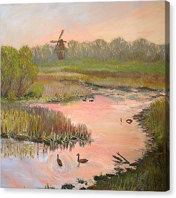 Windmill On The Waterfront Canvas Print by Art Nomad Sandra  Hansen