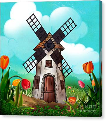 Windmill Path Canvas Print by Bedros Awak