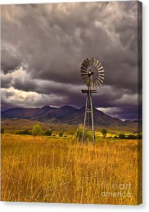 Haybale Canvas Print - Windmill by Robert Bales