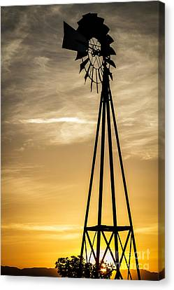 Windmill Sunset Canvas Print by Mitch Shindelbower