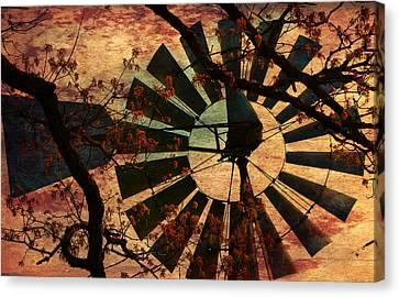 Windmill Through The Oak Canvas Print