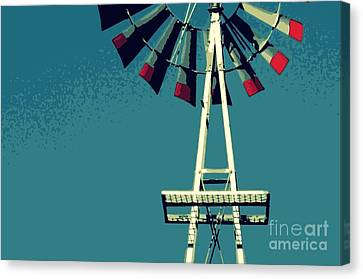 Canvas Print featuring the digital art Windmill by Valerie Reeves