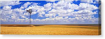 Windmill Wheat Field, Othello Canvas Print by Panoramic Images