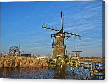 Windmills And Bridge Near Kinderdijk Canvas Print