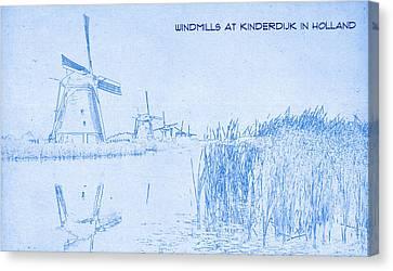 Windmills At Kinderdijk Holland - Blueprint Drawing Canvas Print by MotionAge Designs