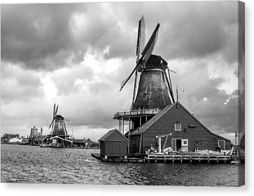 Zaandijk Canvas Print - Windmills At Zaanse Schans In Black And White by Jenny Hudson