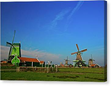 Windmills At Zaanse Schans Canvas Print by Jonah  Anderson