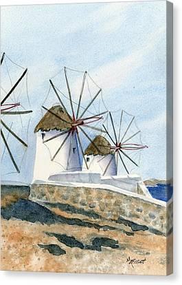 Windmills Of Mykonos Canvas Print